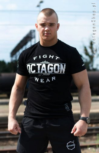 T-shirt Octagon Basic Fight Wear czarny logo białe