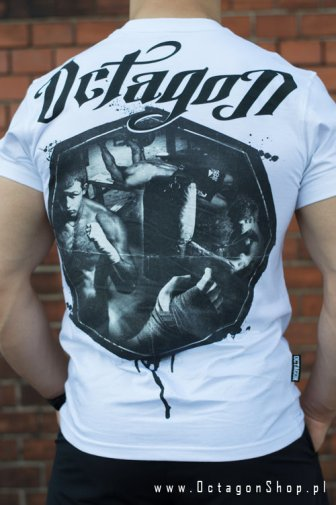 T-shirt Octagon Fight Life biały