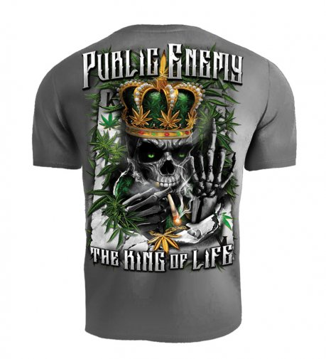 T-shirt Public Enemy King of the Life szary